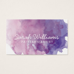 Purple business cards templates zazzle purple watercolor business card colourmoves Image collections