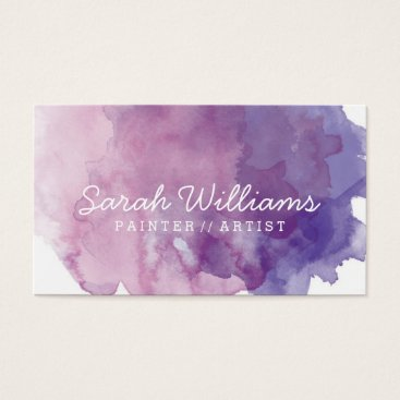 BirchAndBlossom Purple Watercolor Business Card