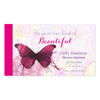 Purple Watercolor Butterfly on Pink and Yellow Business Card