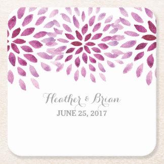 Purple Watercolor Chrysanthemum Paper Coasters