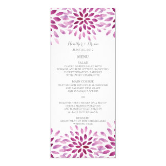 Purple Watercolor Chrysanthemum Wedding Menu Card