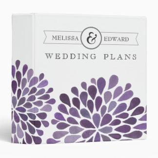 Purple Watercolor Dahlias Wedding Planner Binder