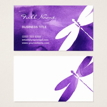 raphaela_wilson Purple Watercolor Dragonfly Business Cards
