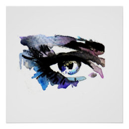 Purple Watercolor eyes lashes  makeup branding Poster