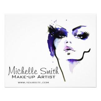 Purple watercolor face makeup artist branding flyer