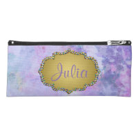 Purple Watercolor Fantasy Gold Frame w/Name Pencil Case