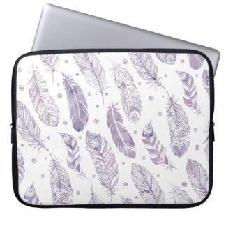 Purple Watercolor Feather Pattern Makeup Bag Laptop Computer Sleeve