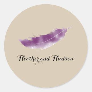 Purple Watercolor Feather Wedding Sticker
