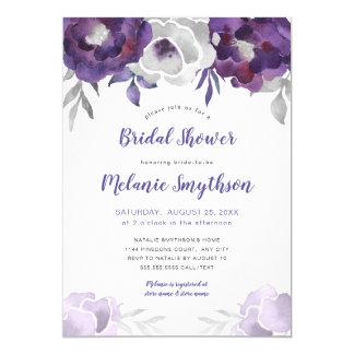 Purple Watercolor Floral bridal shower 3963 Invitation