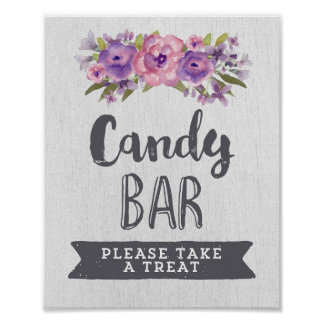 Purple Watercolor Floral Candy Bar Wedding Sign Poster