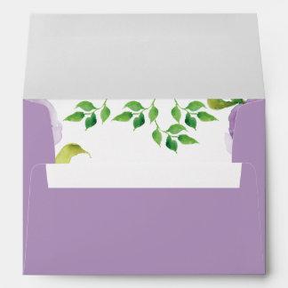 Purple watercolor floral envelope