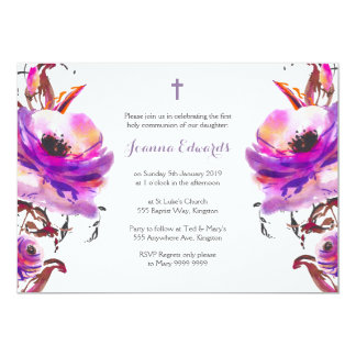 Purple Watercolor Floral First Communion Card