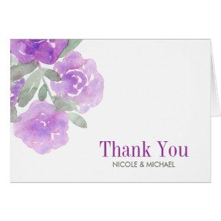 Purple Watercolor Floral Garden Thank You Card