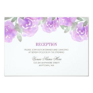 Purple Watercolor Floral Garden Wedding Reception Card