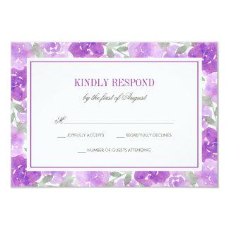 Purple Watercolor Floral Garden Wedding RSVP Card