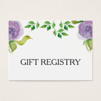 purple watercolor floral gift registry business card