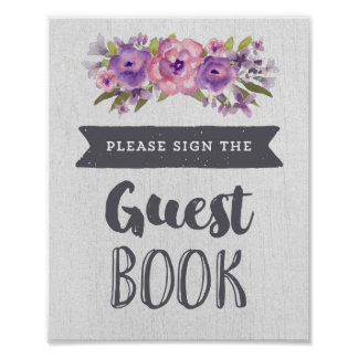 Purple Watercolor Floral Guest Book Wedding Sign Poster