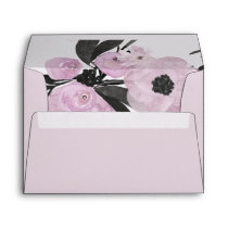 Purple Watercolor Floral liner wedding Envelope