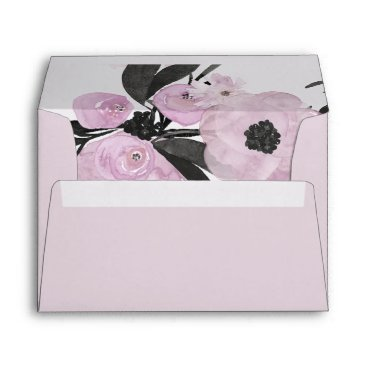 Purple Watercolor Floral liner wedding Envelope
