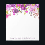 """Purple Watercolor Floral Name Personalized Notepad<br><div class=""""desc"""">Pretty personal notepad featuring a floral purple peony and roses pattern. If you need assistance with placement or personalization,  please use the &quot;Contact This Designer&quot; link on the right hand side of this page.</div>"""