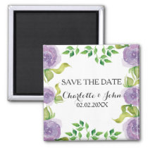 Purple watercolor floral save the Date Magnet