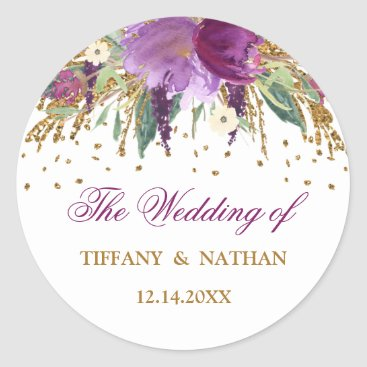 Wedding Themed Purple Watercolor Floral Sparkling Amethyst Classic Round Sticker