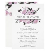 Purple Watercolor Floral Spring Bridal Shower Card