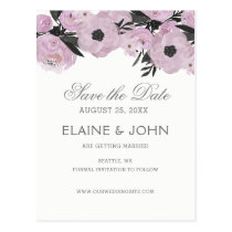 Purple Watercolor Floral Spring save the dates Postcard