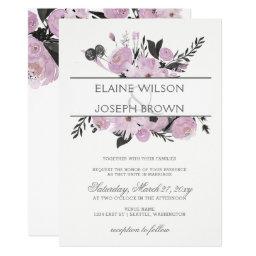 Purple Watercolor Floral Spring Wedding invitations Set