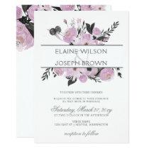 Purple Watercolor Floral Spring Wedding Invitation