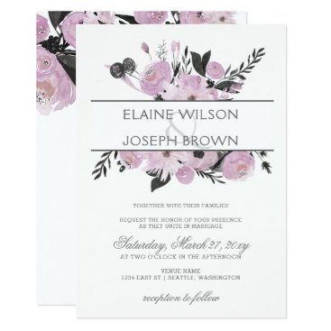 Purple Watercolor Floral Spring Wedding Invitation
