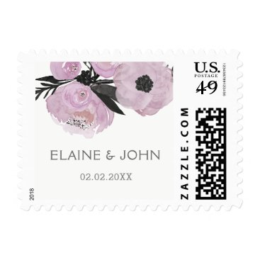 Purple Watercolor Floral Spring Wedding postage