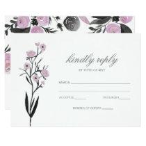 Purple Watercolor Floral Spring Wedding rsvp Card