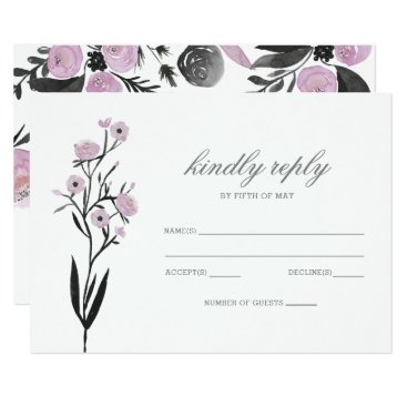Purple Watercolor Floral Spring Wedding rsvp Card