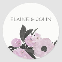 purple watercolor Floral Spring Wedding stickers