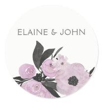 purple watercolor Floral Spring Wedding stickers