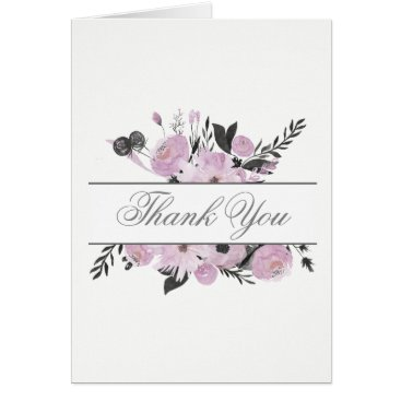Purple Watercolor Floral Spring Wedding thank you Card