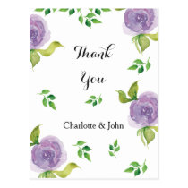 Purple watercolor floral Thank You notes