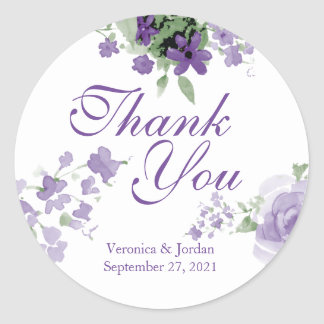 Purple Watercolor Floral Thank You Stickers