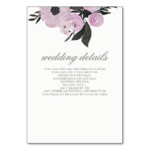 Purple Watercolor Floral Wedding details card