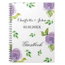 Purple watercolor floral wedding Guestbook Notebook