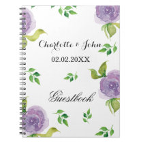 Purple watercolor floral wedding Guestbook Spiral Notebook