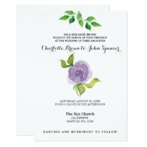 Purple watercolor floral wedding invitations