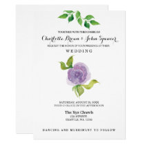 Purple watercolor floral wedding invitations