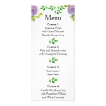 Purple watercolor floral wedding menu