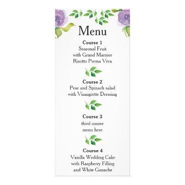 Purple watercolor floral wedding menu