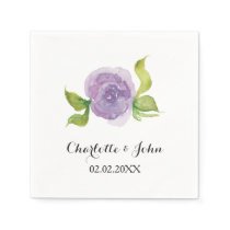 Purple watercolor floral wedding napkin