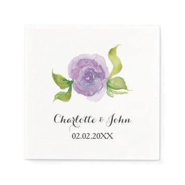 Purple watercolor floral wedding napkin