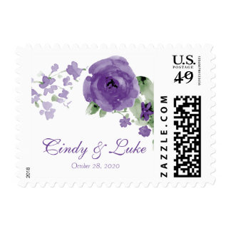 Purple Watercolor Floral Wedding Postage