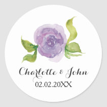 Purple watercolor floral wedding stickers